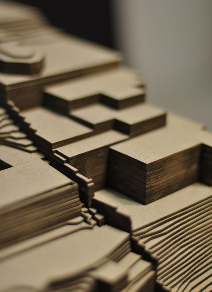 Maquette d'architecture en carton gris