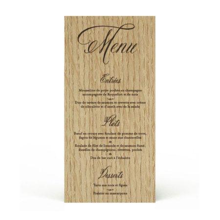 menu en bois gravé