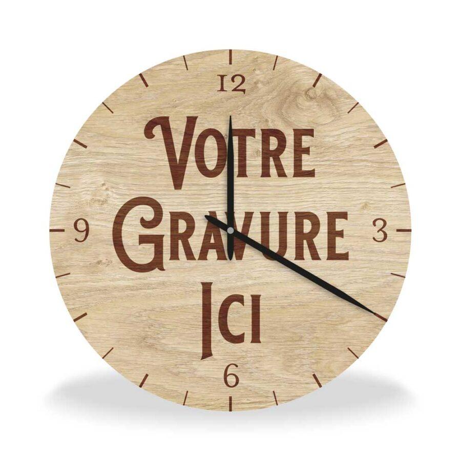 horloge en bois massif à personnaliser