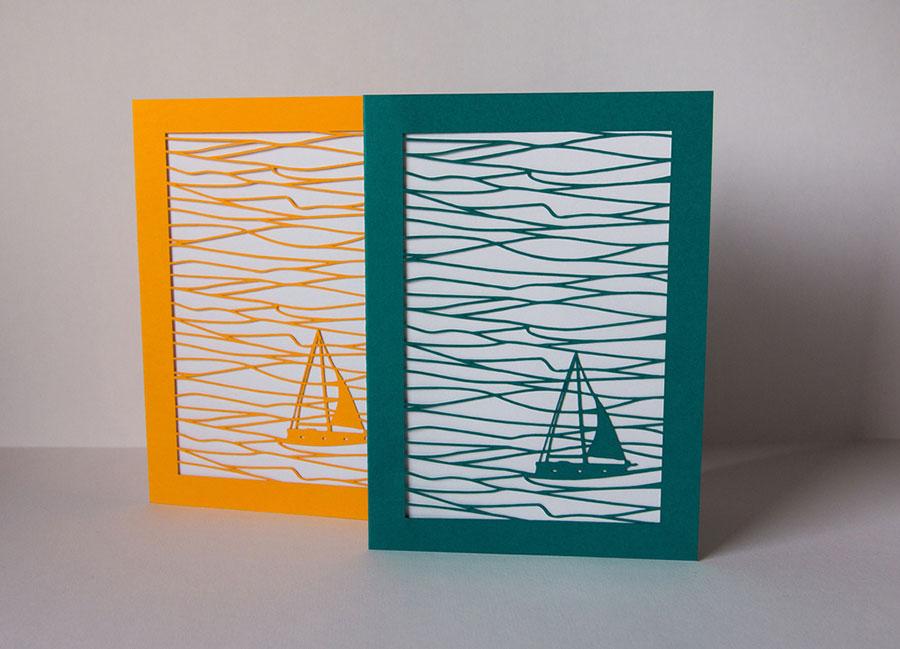Cartes de voeux en découpe de papier